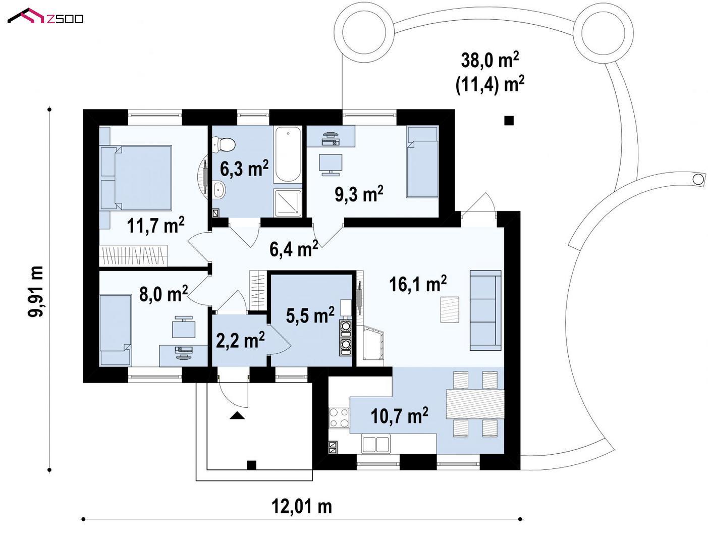 Готовый проект дома  - Небольшой комфортный одноэтажный дом в форме буквы «L» с тремя спальнями.