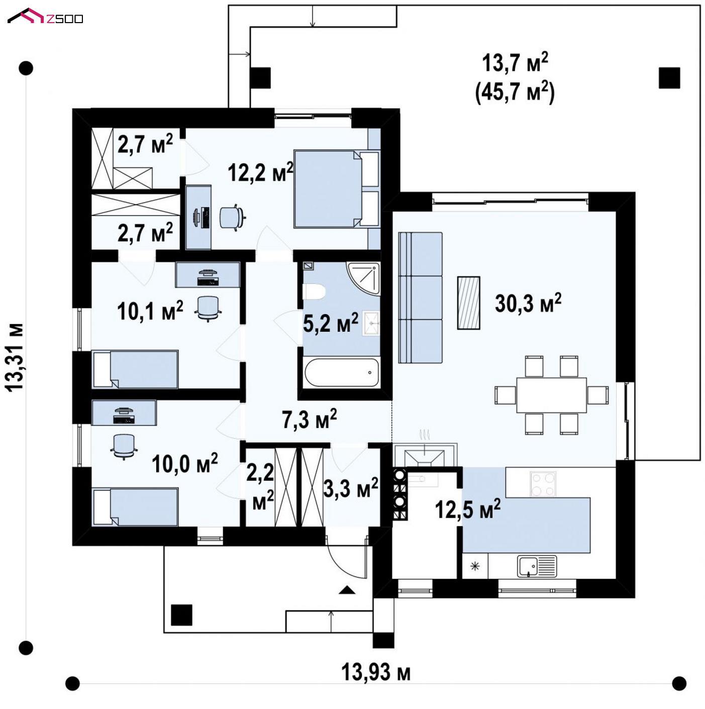 Готовый проект дома - Увеличенная версия проекта Zx105 с гардеробными в каждой спальне.